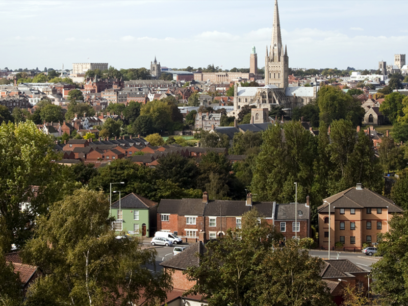 A view over the city of Norwich, in Norfolk, England,